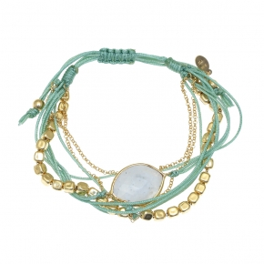 Bracelet silver 925 gold plated with moonstone and cord - Color Me
