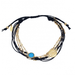 Bracelet silver 925 gold plated with turquoise and cord - Color Me
