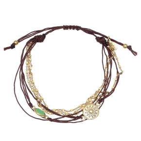 Bracelet silver 925 gold plated with peridot and cord - Color Me