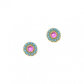 Earrings silver 925 gold plated with colored zirconia - Color Me