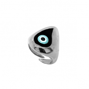Ring silver 925 rhodium plated & with enamel evil eye  (2,8 cm x 1,7 cm) - Wish Luck