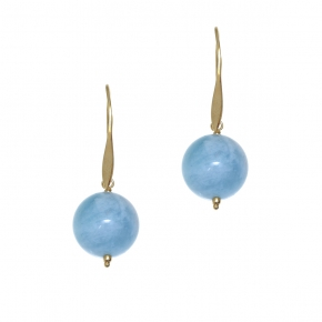 Earrings silver 925 yellow gold plated with aquamarine - Color Me