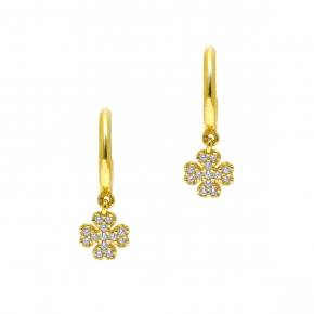 Earrings in silver 925 yellow gold plated with zirconia - Simply Me
