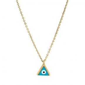 Necklace silver 925 gold plated with enamel evil eye - Wish Luck