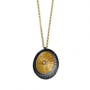 Necklace silver 925 yellow gold plated with black rhodium plated and white zirconia - Funky Metal