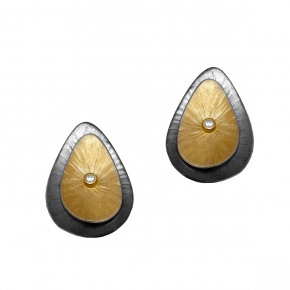 Earrings silver 925 yellow gold plated with black rhodium plated and white zirconia - Funky Metal