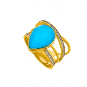 Ring silver 925 yellow gold plated with doublet gem stones and zirconia - Color Me