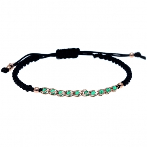 Bracelet silver 925 pink gold plated with zirconia and cord - Color Me