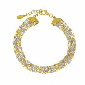 Bracelet silver 925 yellow gold plated with enamel - Color Me