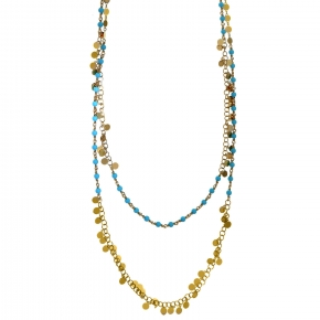 Necklace silver 925 gold plated with turquoise - Simply Me