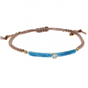 Bracelet silver 925 yellow gold plated with enamel and cord - Color Me