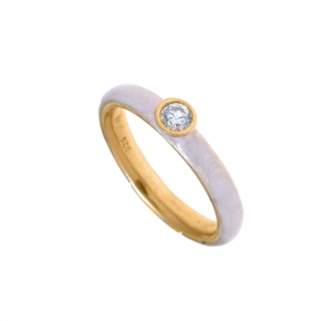 Ring silver 925 yellow gold plated with enamel - Color Me