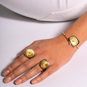 Ring silver 925 yellow gold plated with black rhodium plated and white zirconia - Funky Metal