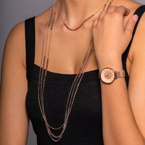 Necklace silver 925 rose gold plated with zirconia - Color Me