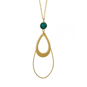 Necklace silver 925 yellow gold plated with treated emerald - Color Me