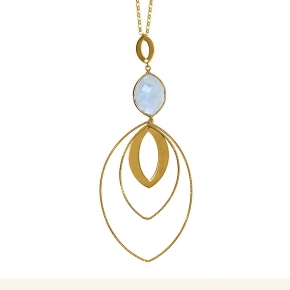 Necklace silver 925 yellow gold plated & with moonstone - Color Me