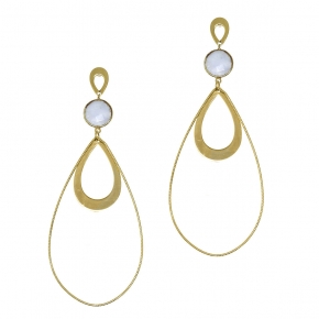 Earrings silver 925 yellow gold plated with moonstone - Color Me