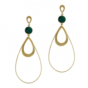 Earrings silver 925 yellow gold plated with treated emerald - Color Me
