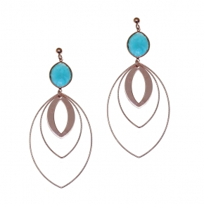 Earrings silver 925 pink gold plated with amazonite - Color Me