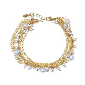 Bronge bracelet gold plated with pearls - Funky Metal