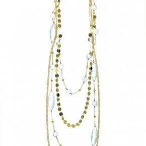 Bronge necklace gold plated with pearls - Funky Metal