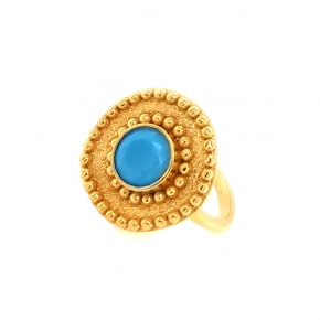 Ring silver 925 yellow gold plated with turquoise - Color Me