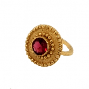 Ring silver 925 yellow gold plated with crystals - Color Me