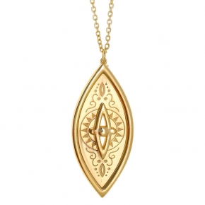 Necklase silver 925 yellow gold plated - Funky Metal