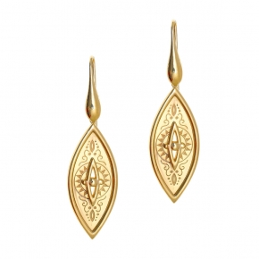 Earings silver 925 yellow gold plated - Funky Metal