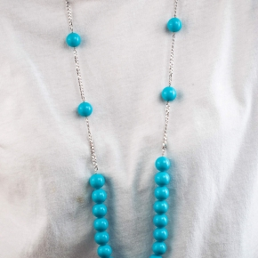 Necklace silver 925 rhodium plated with turquoise - Color Me