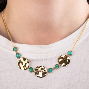Necklace silver 925 gold plated with amazonite - Color Me