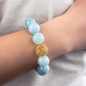 Bracelet silver 925 gold plated with aquamarine - Color Me