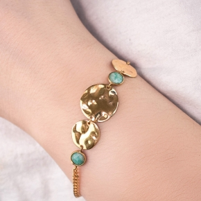 Bracelet silver 925 gold plated with amazonite - Color Me