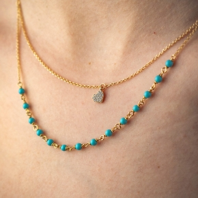 Necklace silver 925 gold plated with turquoise and white zirconia - WANNA GLOW