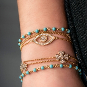 Bracelet silver 925 gold plated with turquoise & zirconia - WANNA GLOW