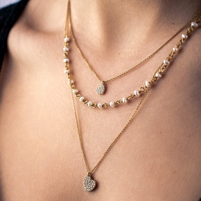 Necklace silver 925 gold plated with pearls & white zirconia - WANNA GLOW