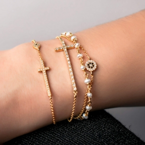 Bracelet silver 925 gold plated with pearls & zirconia - WANNA GLOW