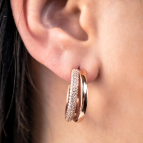 Earrings silver 925 gold plated with white zirconia - WANNA GLOW