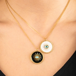 Necklase silver 925 yellow gold plated & with enamel evil eye - Wish Luck