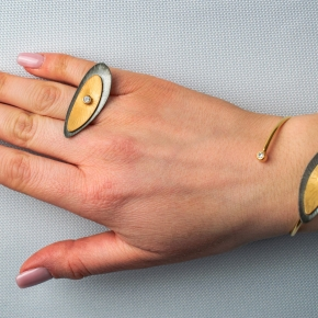Bracelet silver 925 yellow gold plated with black rhodium plated and white zirconia - Funky Metal