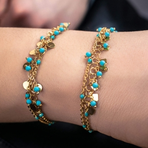 Bracelet silver 925 gold plated with turquoise - Simply Me