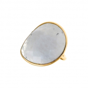 Ring silver 925 yellow gold plated with moonstone - Color Me