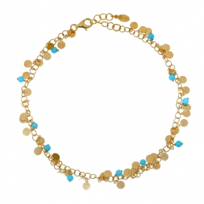 Foot chain silver 925 yellow gold plated with synthetic stones - Simply Me