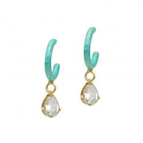 Earings silver 925 yellow gold plated with enamel - Color Me