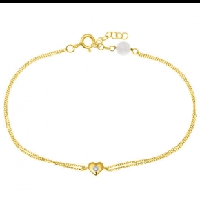 Bracelet gold 14 carats with diamonds tw 0,01 ct - My Gold