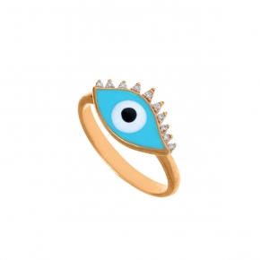 Ring silver 925 pink gold plated & with enamel evil eye  (2,8 cm x 1,7 cm) - Wish Luck