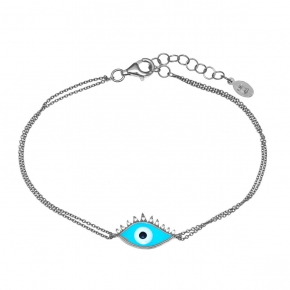 Bracelet silver 925 rhodium plated & with enamel evil eye - Wish Luck