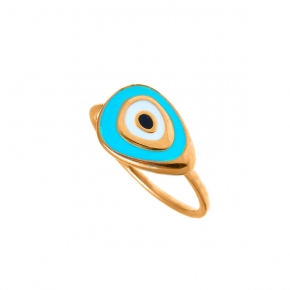 Ring silver 925 pink yellow gold plated & with enamel evil eye - Wish Luck