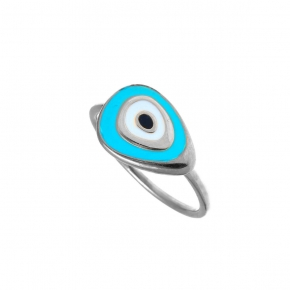 Ring silver 925 rhodium plated with enamel evil eye - Wish Luck