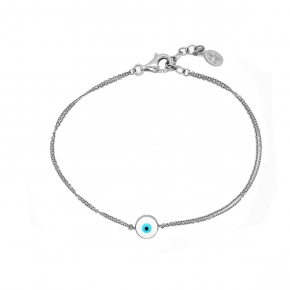 Bracelet silver 925 rhodium plated with enamel evil eye - Wish Luck
